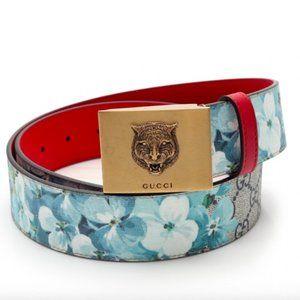 Gucci Monogram GG Blue Blooms Belt Gold Tiger